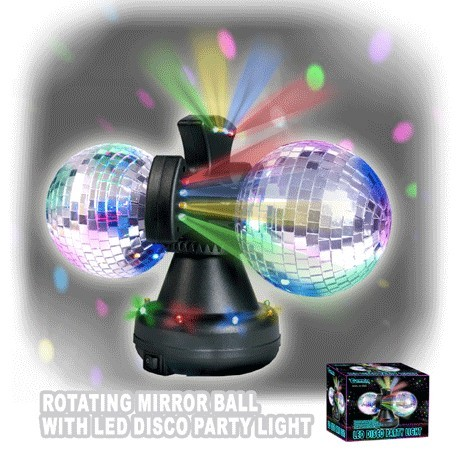 Rotating Mirror Ball with LED Disco Party light